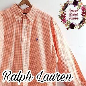 Ralph Lauren Orange Gingham long large button up